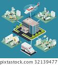 Set of 3D flat isometric illustrations of medical 32139477