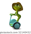 3d Illustration  Frog in the Straw Hat in Segway 32140432