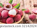 fresh organic lychee fruit on bamboo basket 32142024