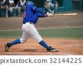 Men's league player in blue shirt swinging 32144225