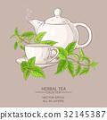 nettle, illustration, teapot 32145387