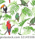 vector pattern parrot 32145506