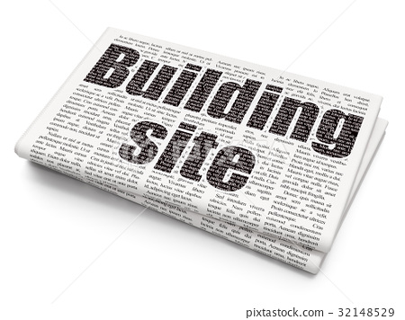 Construction concept: Building Site on Newspaper 32148529