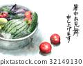 與冷卻在榻榻米的菜的熱的冷的激情卡片 32149130
