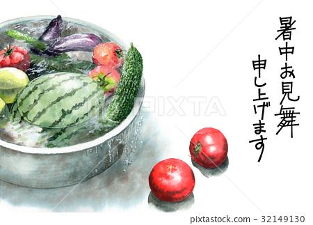 통에 냉장 야채의 글자 여름 안부 엽서 32149130