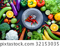 Healthy food concept of fresh organic vegetables 32153035