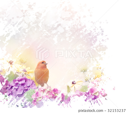 Yellow Bird with flowers 32153237