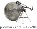 Telescope with moon, 3D rendering 32155200