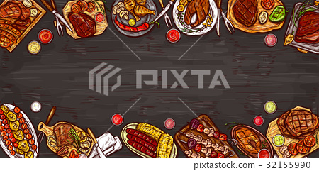 Vector illustration, culinary banner, barbecue 32155990