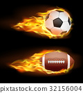 Vector set of sports burning balls, balls for 32156004