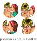 Set of vector illustration, womens pop art round 32156030