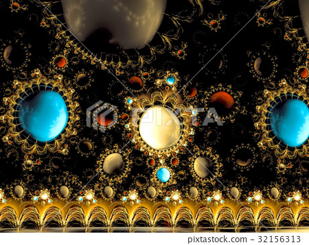 Jewelry border - abstract digitally generated 32156313