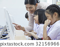 a teacher is showing something on computer to her students 32156966