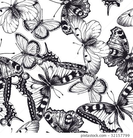 Seamless pattern with butterflies. 32157799