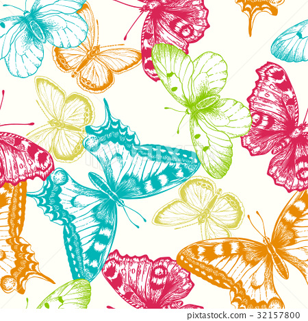 Seamless pattern with butterflies. 32157800