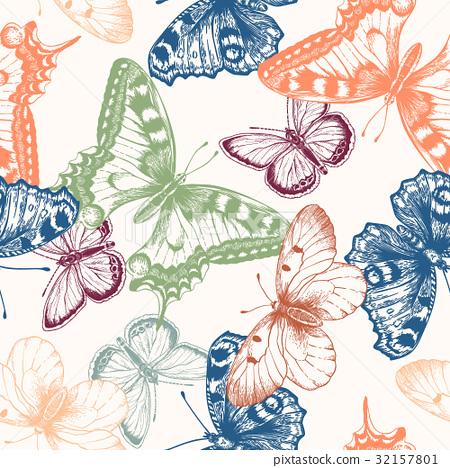 Seamless pattern with butterflies. 32157801