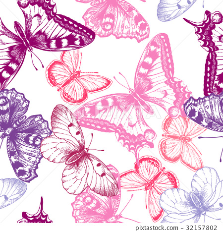 Seamless pattern with butterflies. 32157802