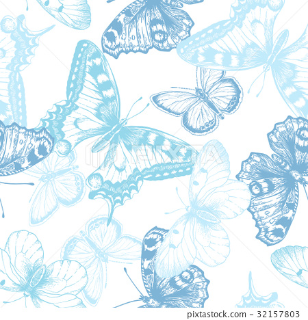 Seamless pattern with butterflies. 32157803