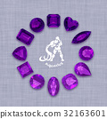 Group of  amethyst  gemstones  with clipping path 32163601