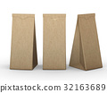 Brown folded paper bag with clipping path 32163689