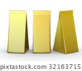 Golden folded paper bag with clipping path 32163715