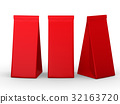 Red folded paper bag with clipping path 32163720