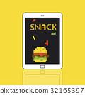 8 bit illustration of tasty burger meal on digital tablet 32165397