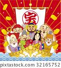 the seven deities of good fortune, treasure ship, god 32165752