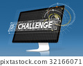 Computer Screen with Challenge Graphic Word Design 32166071