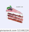 Blueberry  cake, hand drawn water color vector 32166226
