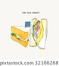 tuna salad sandwich sketch vector. 32166268