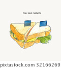 tuna salad sandwich sketch vector. 32166269