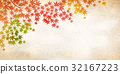 Autumn leaves fall Japanese paper background 32167223