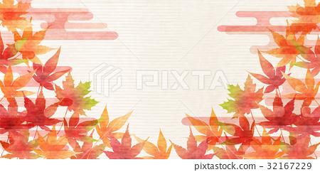단풍 가을 종이 배경 32167229