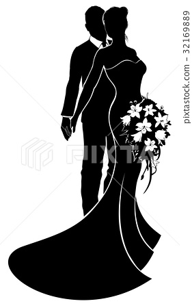 Bride and Groom Silhouette Wedding Concept 32169889
