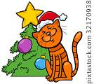 cat with Christmas tree cartoon 32170938