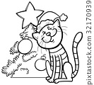 cat and Christmas tree coloring book 32170939