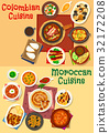 Colombian and moroccan cuisine icon set design 32172208