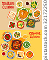 Cypriot and maltese cuisine icon set, food design 32172250