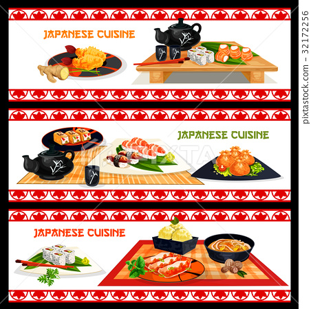 Japanese seafood dishes banner set menu design 32172256