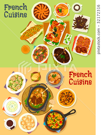 French cuisine dinner icon set for menu design 32172316