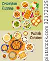 Polish and croatian cuisine icon set, food design 32172325
