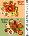 Mexican cuisine national dinner dishes icon set 32172340