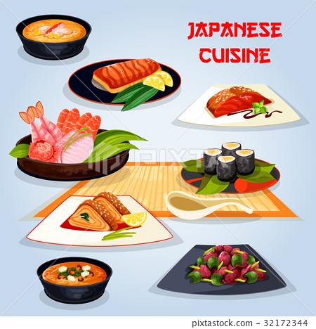 Japanese cuisine popular dishes for lunch icon 32172344