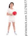 Beautiful Asian girl  playing table tennis 32176077