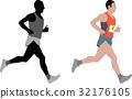 marathon runner,detailed illustration 32176105