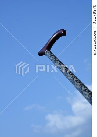 Cane, sky clear weather, senior, care image 32179879