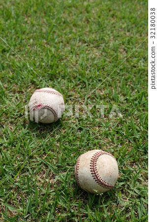 High school baseball hardball practice ball and natural lawn 32180038