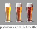 Beer on glass. Realistic vector beer set on 32185387