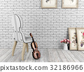 Violin and chair in white room interior 32186966